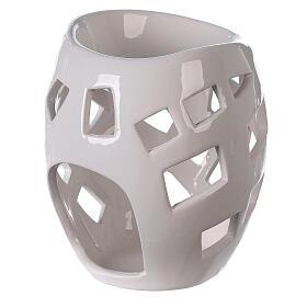 Brûle-parfum céramique ajourée blanche 9x12 cm s3