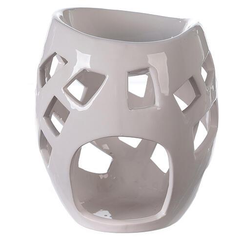 Brûle-parfum céramique ajourée blanche 9x12 cm 1
