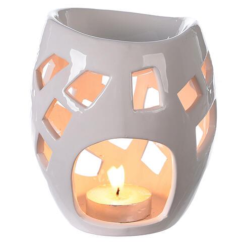 Brûle-parfum céramique ajourée blanche 9x12 cm 2