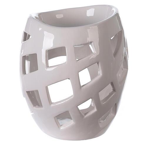 Brûle-parfum céramique ajourée blanche 9x12 cm 4