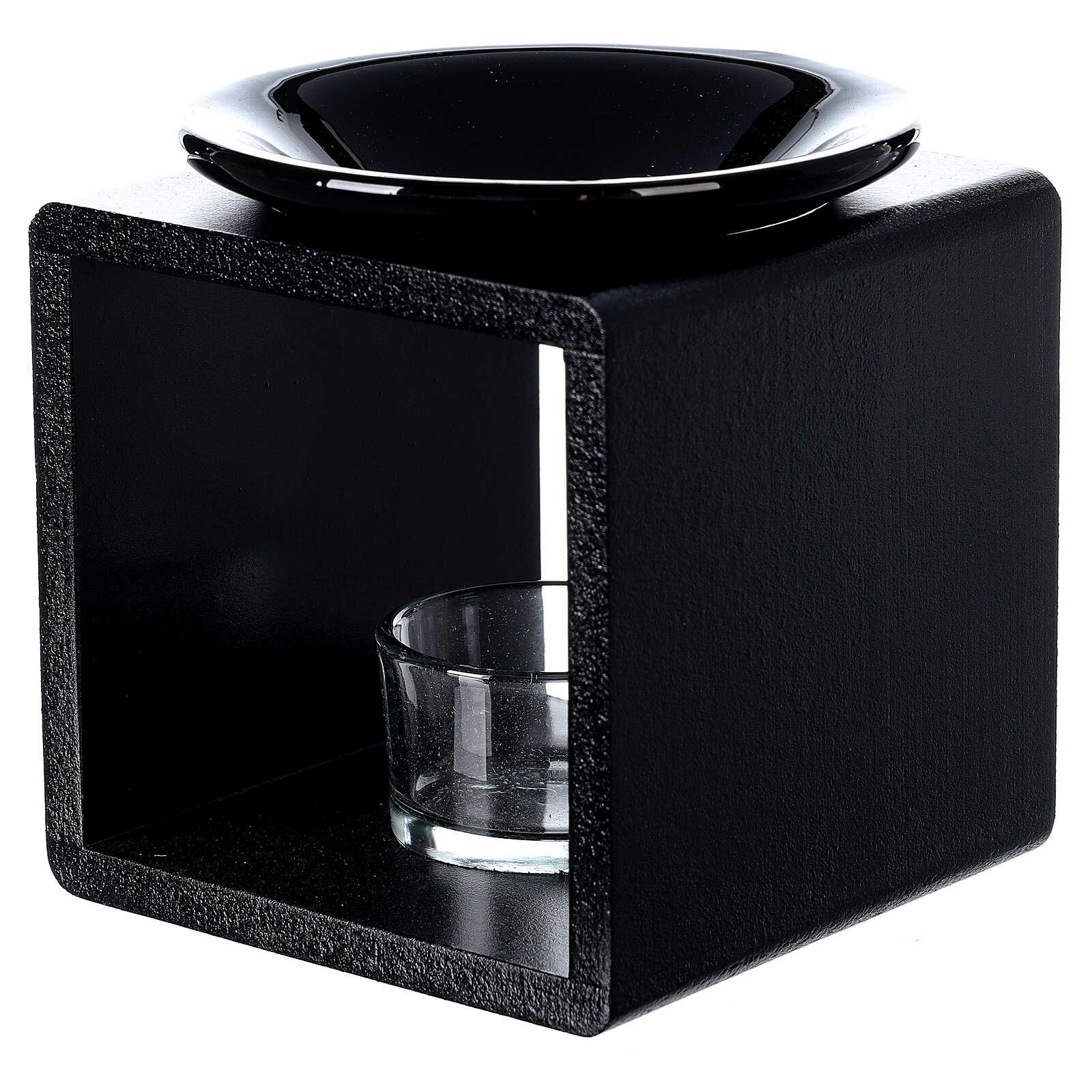 Pebetero esencias cubo negro 12,5 cm 3