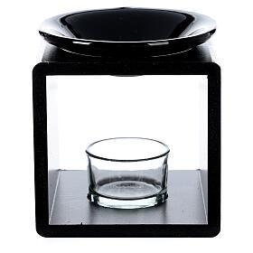 Pebetero esencias cubo negro 12,5 cm s1