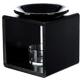 Pebetero esencias cubo negro 12,5 cm s3