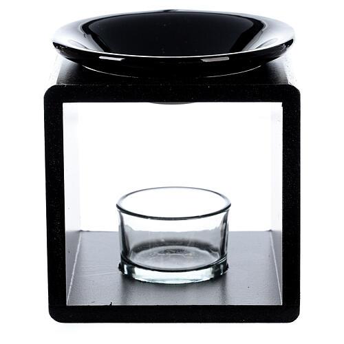 Pebetero esencias cubo negro 12,5 cm 1