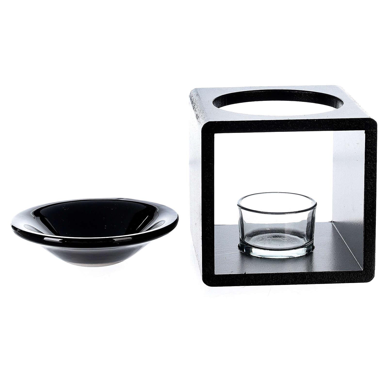 Brûle-essence cube noir 12,5 cm 3