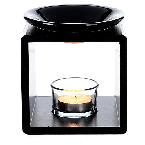 Brûle-essence cube noir 12,5 cm 2