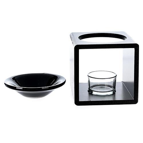 Brûle-essence cube noir 12,5 cm 4
