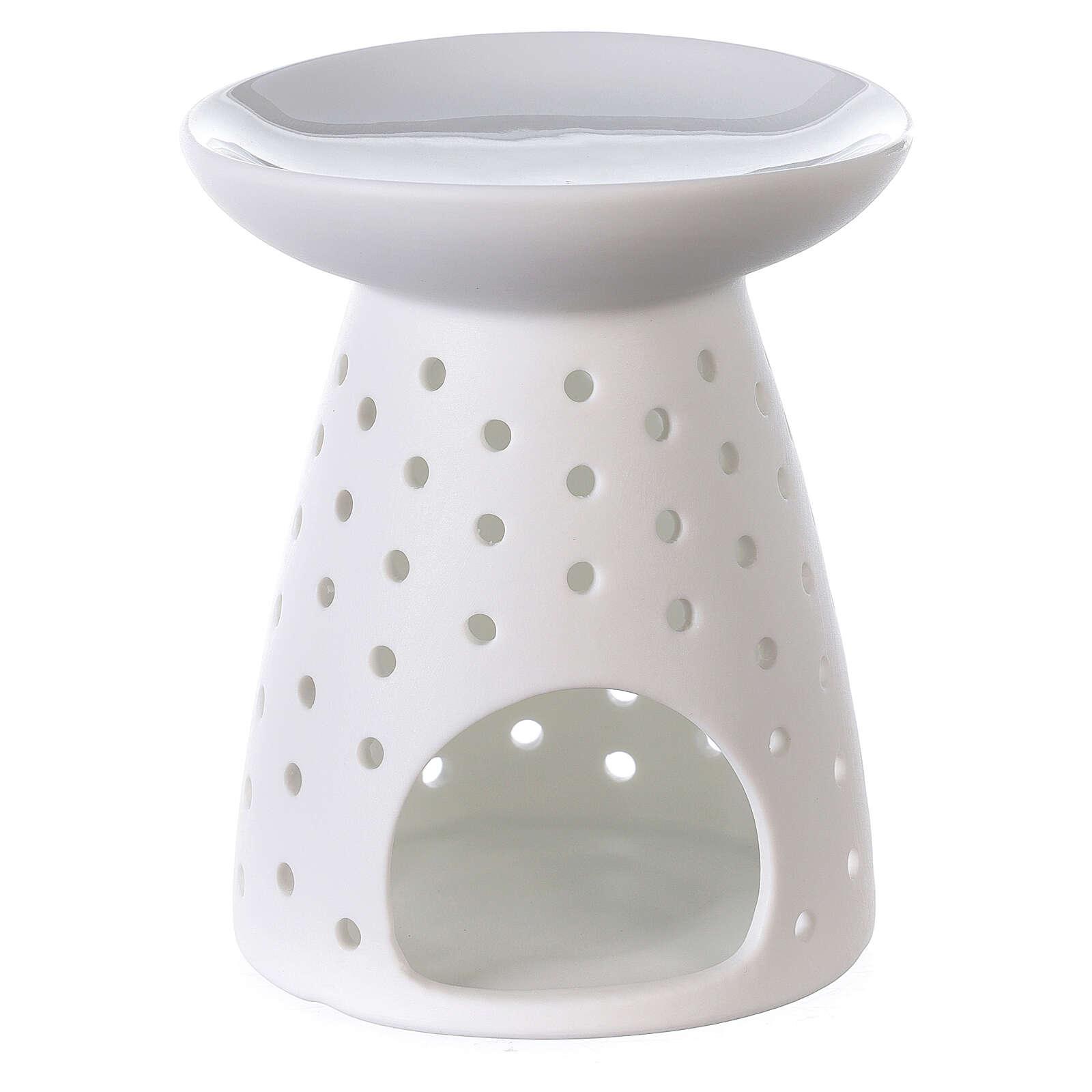 Difusor blanco de porcelana flores 10x12 cm 3