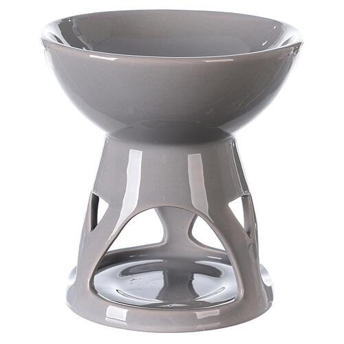 Difusor esencias cerámica esmalte gris 12x12 cm 1