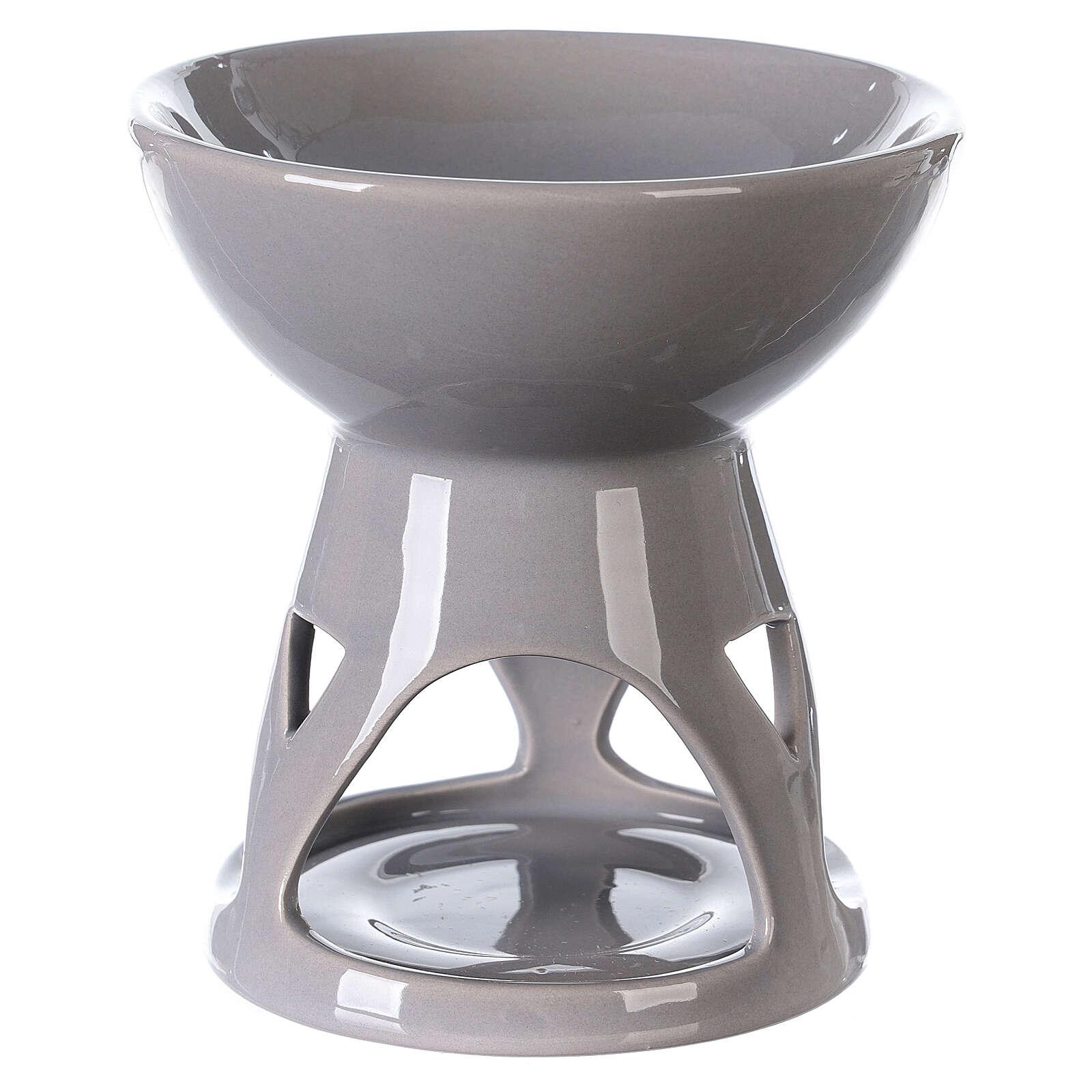 Diffuseur huile essentielle céramique émail gris 12x12 cm 3
