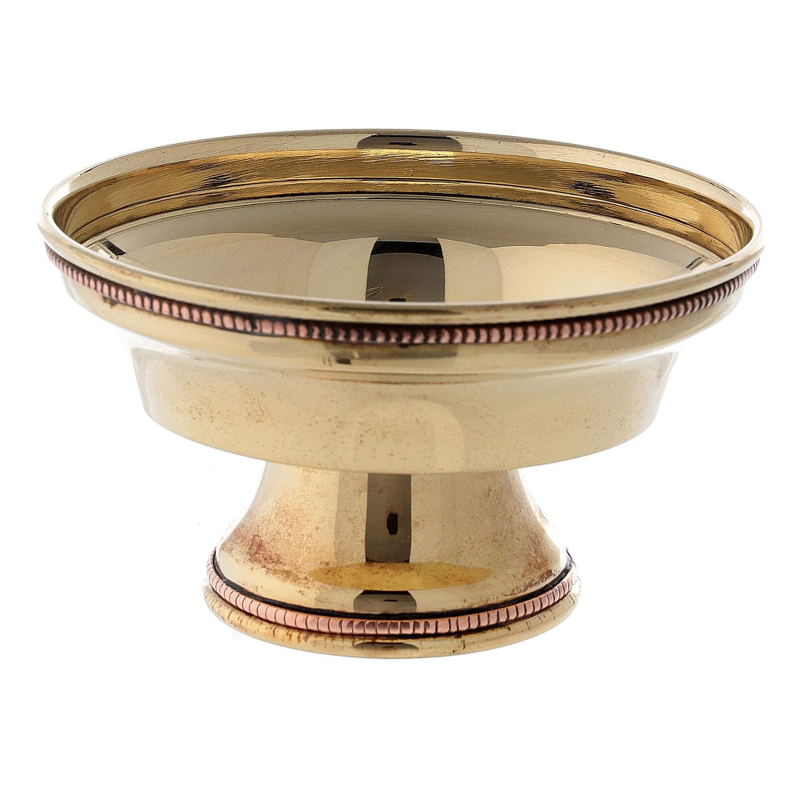 Coppa bruciaincenso ottone dorato bordo perlato 10 cm 3