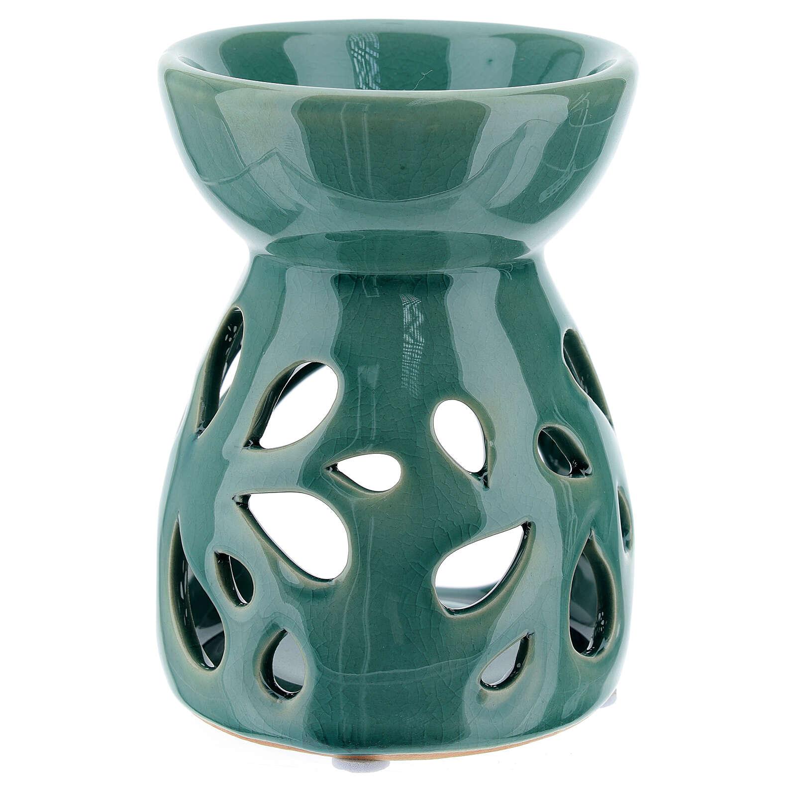 Brucia essenze ceramica traforato verde smeraldo 11 cm 3