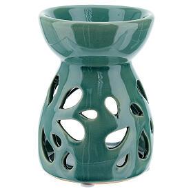 Brucia essenze ceramica traforato verde smeraldo 11 cm s3
