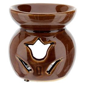 Brucia essenze ceramica traforato marrone 8 cm s2
