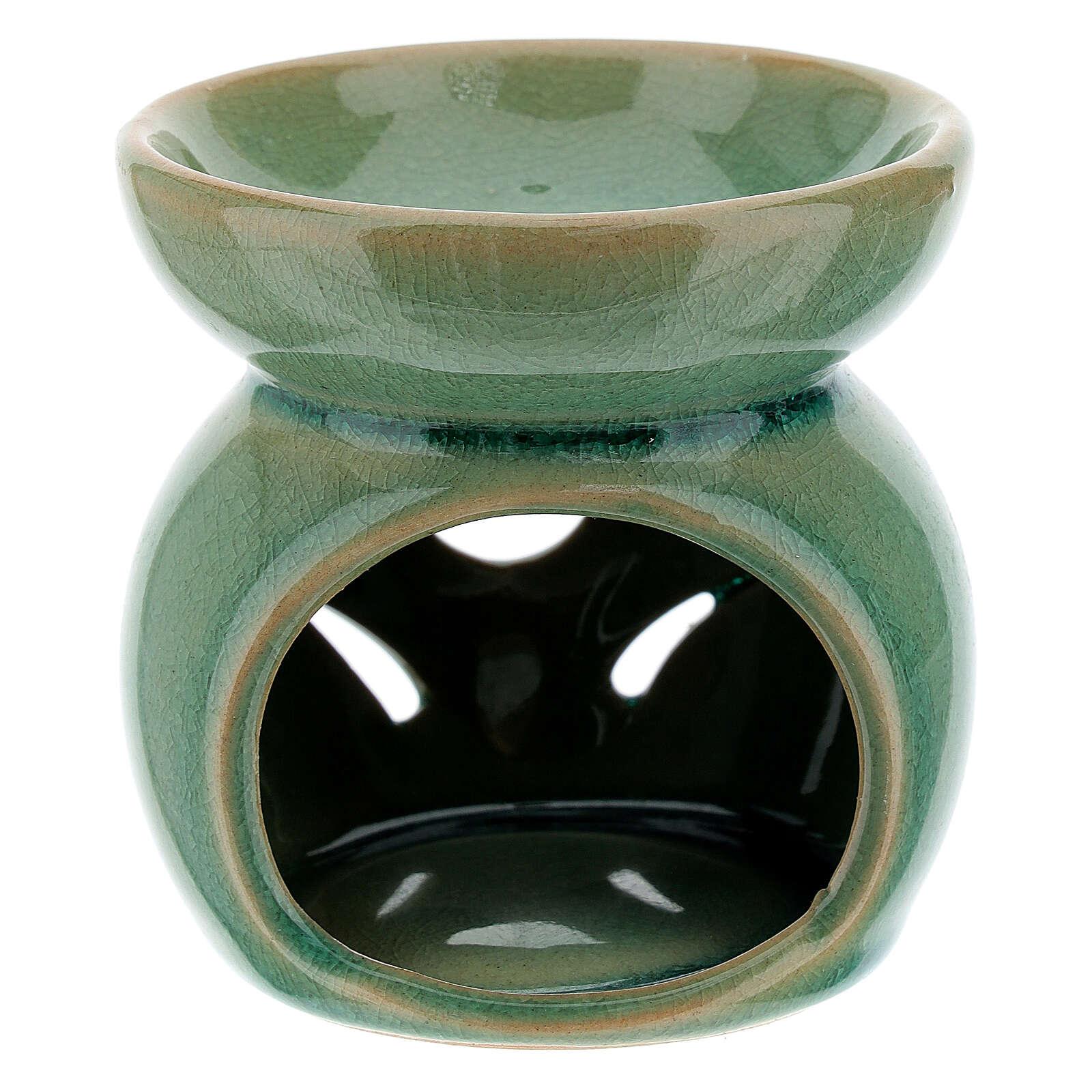 Pebetero esencias cerámica perforado 7 cm verde esmeralda 3