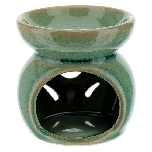 Pebetero esencias cerámica perforado 7 cm verde esmeralda 1