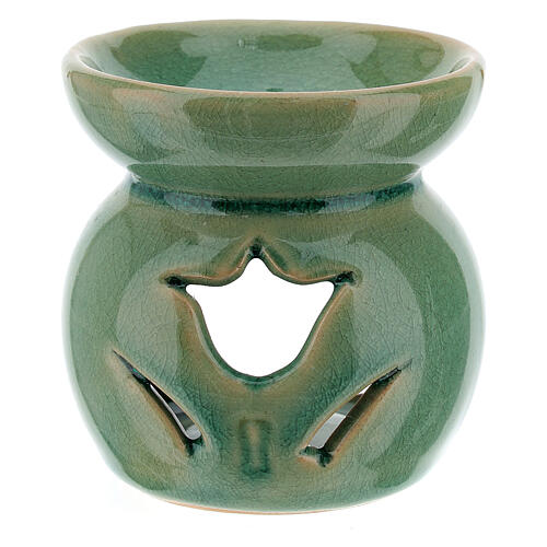 Pebetero esencias cerámica perforado 7 cm verde esmeralda 2