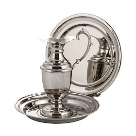 Ewer and plate in shiny, polished copper s1