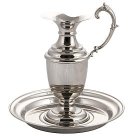 Ewer and plate in shiny, polished copper s3