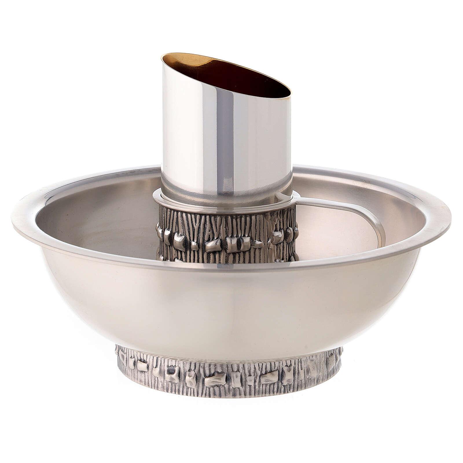 Kanne zur Händewaschung und Wasserschale von Molina aus versilbertem Messing 3