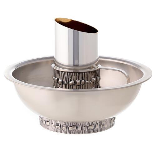 Brocca manutergio Molina con piatto ottone argentato 1