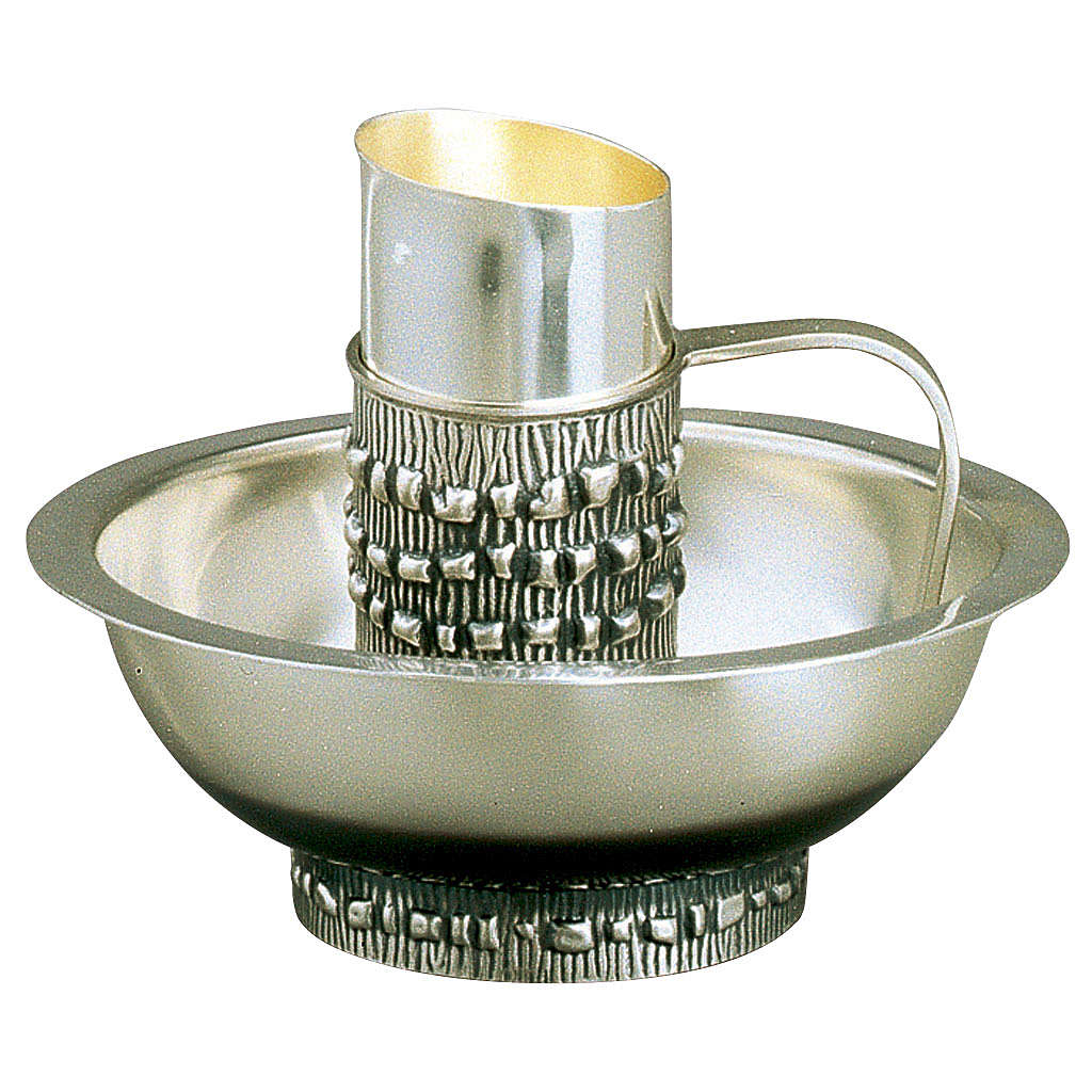 Set with ewer and basin in silver brass, Molina 3
