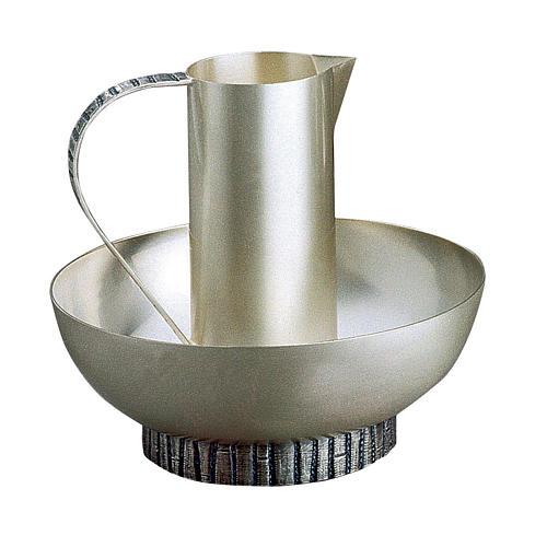 Aiguière lavage mains Molina avec bassin laiton argenté mat 1