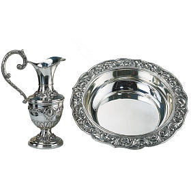 Molina set,ewer with basin in silver brass s1