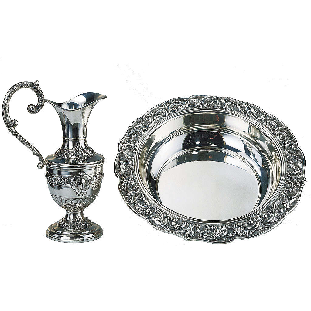 Molina set,ewer with basin in silver brass 3
