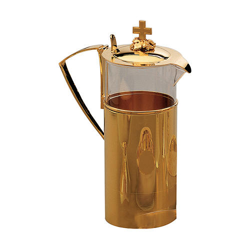 Jug for manuterge Molina glass container with shiny finish in golden brass 1