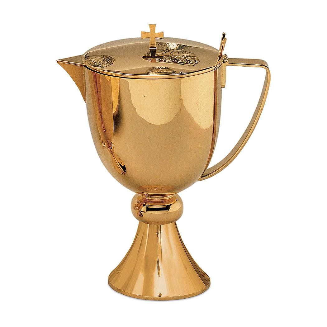 Manuterge jug Molina in simple golden brass 3