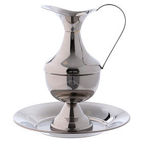 Brass ewer with basin for hand washing ritual s1