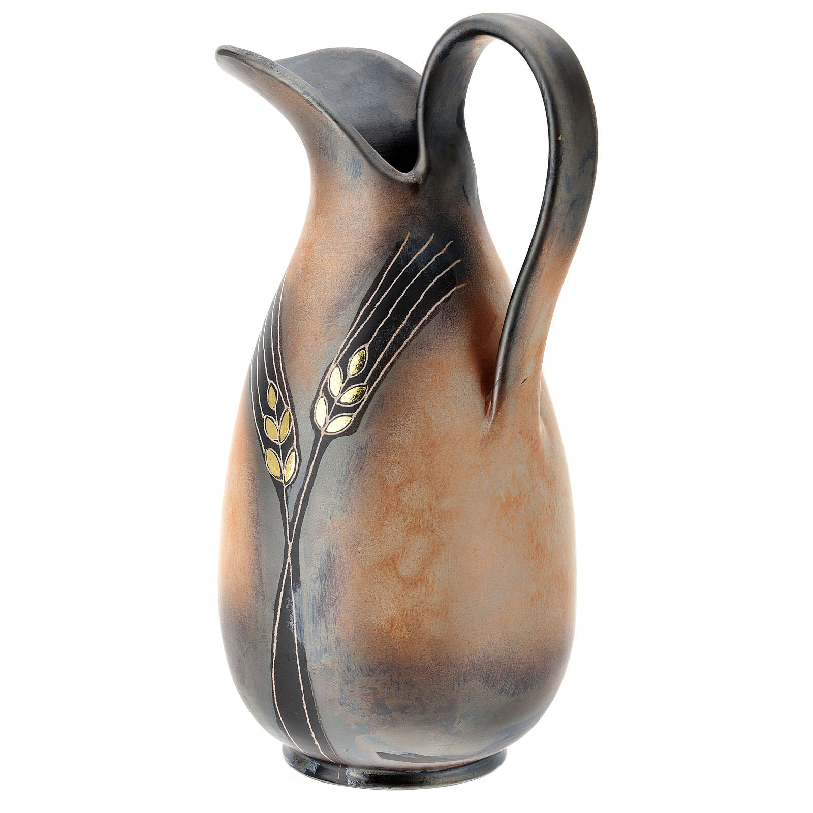 Ewer with golden ear of wheat pattern, Pompei ceramic, h 32 cm 3