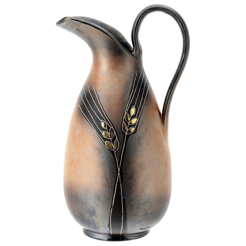 Ewer with golden ear of wheat pattern, Pompei ceramic, h 32 cm 1