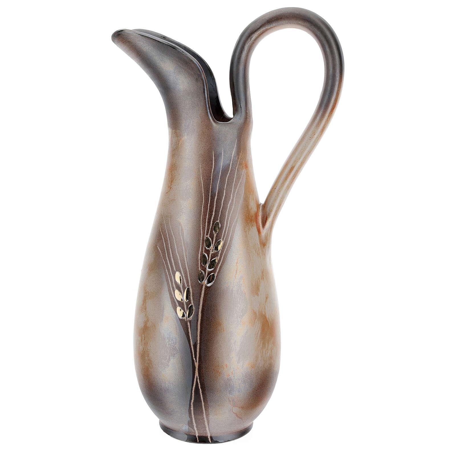 STOCK Jarra cerâmica Pompéia decoro trigo dourado h 32 cm 3
