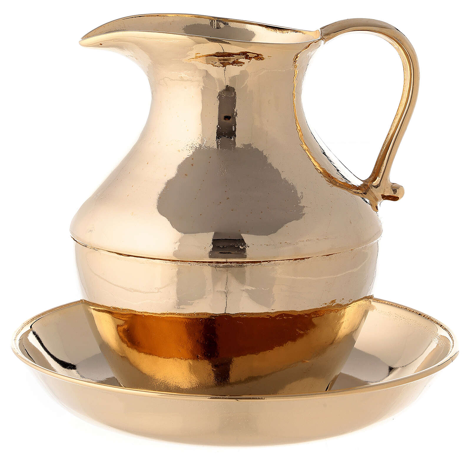 Jug with saucer for washing hands in glossy brass 3