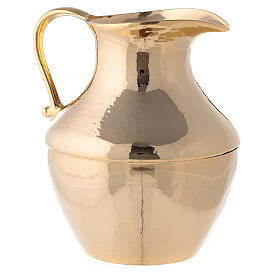 Jug with saucer for washing hands in glossy brass s2