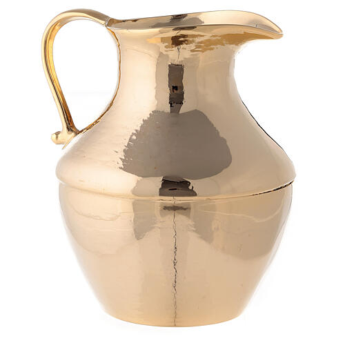 Jug with saucer for washing hands in glossy brass 2