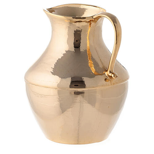 Jug with saucer for washing hands in glossy brass 6