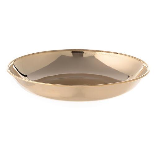 Jarra y plato para manutergio de latón dorado lúcido 3