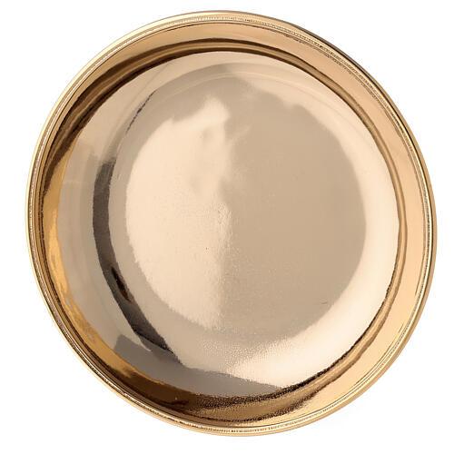 Jarra y plato para manutergio de latón dorado lúcido 4