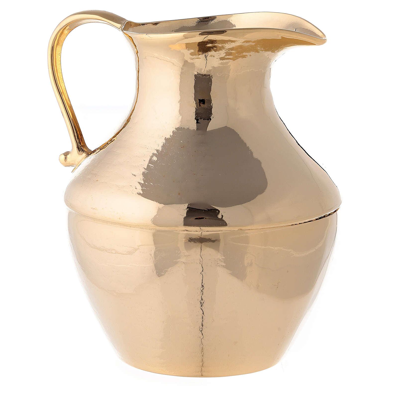 Aiguière et bassin pour manuterge en laiton doré brillant 3