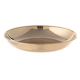 Brocca e piatto per manutergio in ottone dorato lucido s3