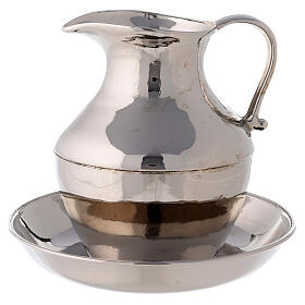 Polished nickel-plated brass ewer and basin s1