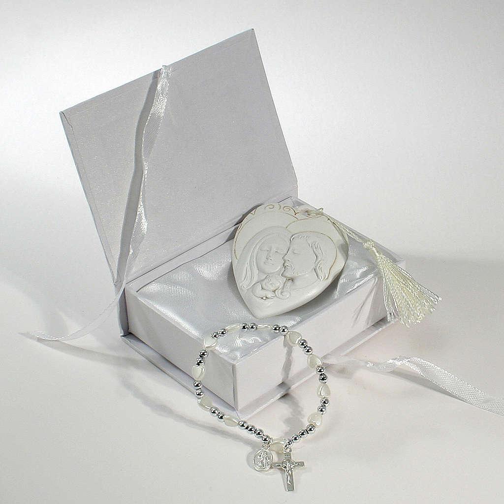 Bomboniera Scatola con bracciale rosario quadretto S. Famiglia 3
