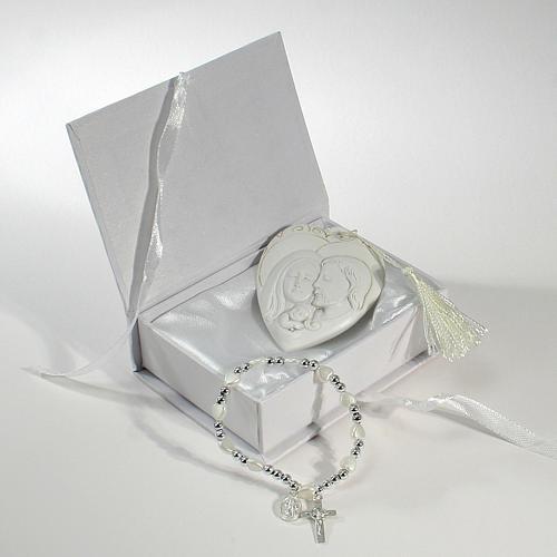 Bomboniera Scatola con bracciale rosario quadretto S. Famiglia 1