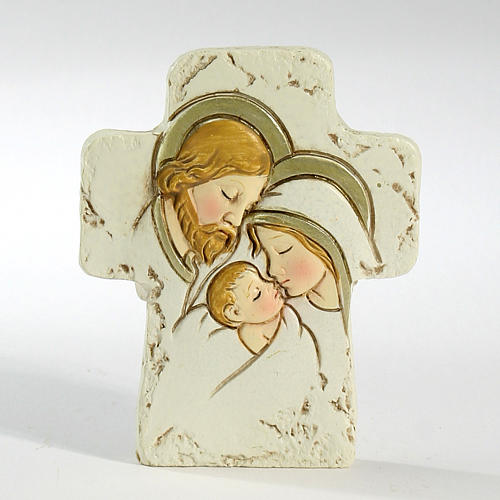 Cross with support Holy Family 8,5x7cm 1