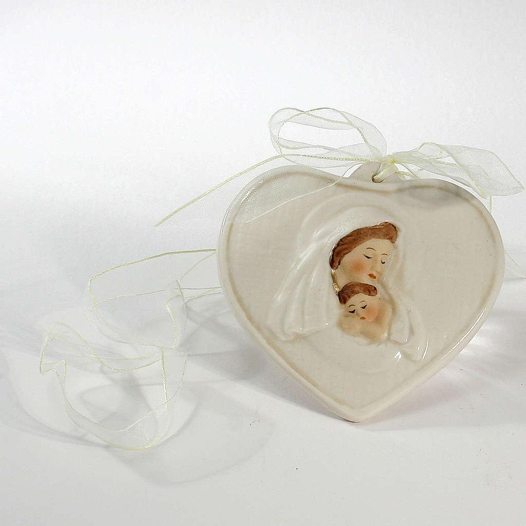 Ricordino Nascita Cuore in porcellana Maternità 8x9 cm 3