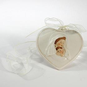 Ricordino Nascita Cuore in porcellana Maternità 8x9 cm s1