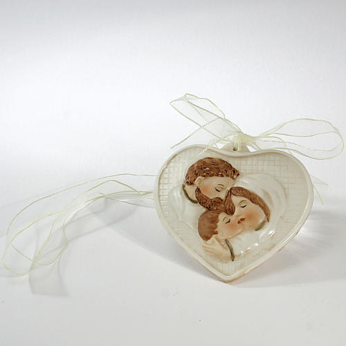 Heart Holy Family of porcelain 8x9cm 1